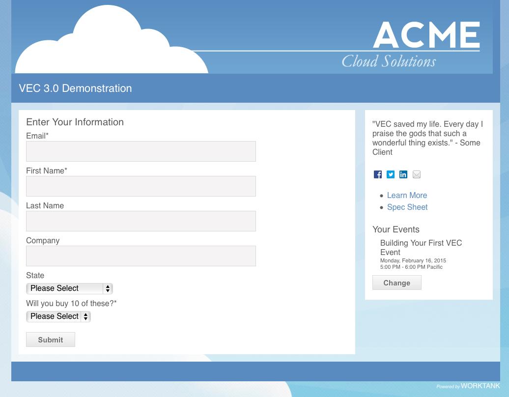 VE Connect Registration Screenshot